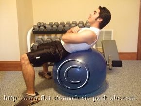 Exercise Ball Crunch Finishing Position